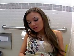 Amateur dude assfucking gf in public bathroom