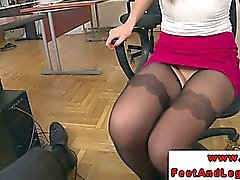 Footjob amateur in stockings and office