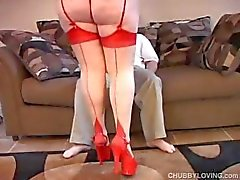 Fatty brunette in red lingerie gets licked and sucks cock and gets drilled
