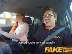 Fake Driving School Sexy redhead lusts after instructors big cock