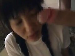 Seductive Asian chick with pigtails welcomes a large cock i