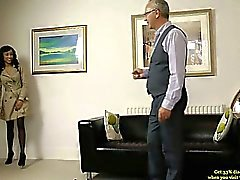 Old man giving doggystyle fuck to young raven