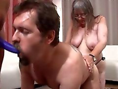 Strap-on grannies dominate dude