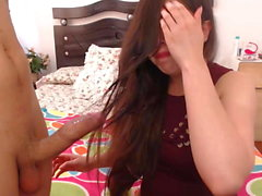 Sexy Colombian Hairjob, Hair-Blowjob and Cum in Hair