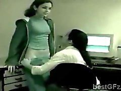 Brunette caught seducing her lesbian boss at the office