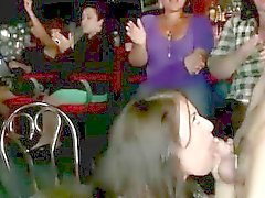 CFNM party babes suck cock of strippers in public