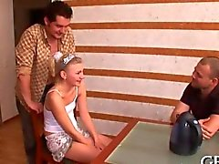 Teen babe is getting groped by two pervs