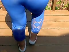 sexy wife's ass in blue leggings