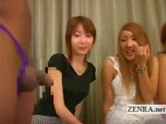 Subtitled Japanese amateurs black CFNM lingerie party