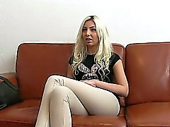 Blonde giving head in office on casting