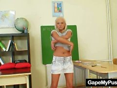 Blond slut Klara weird pussy gape by helping hands