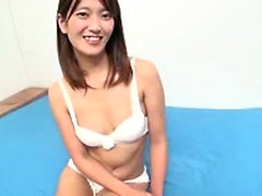 Asian slut toying her tight hairy cunt with dildo