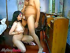 Savita strips and gives her man a great blowjob