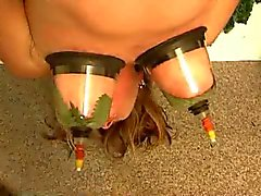 Suspended woman torture with nettles