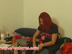 Real czech redhead does rough blow job