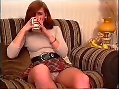 An amateur girl shows upskirt and then drinks tea (MrNo)