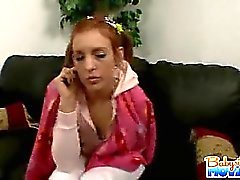 Pretty 18 yo babysitter Riley Shy stripping and