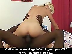 Lovely blonde fucked hard from behind and riding black cock