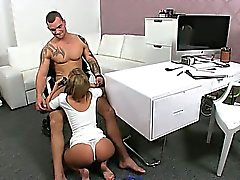 Female agent masturbates in front of muscled dude on casting