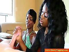 Sexy nubian amateurs tug cock together