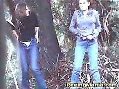 Girls caught while taking a pee outdoors
