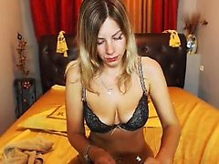 Blonde fetish slut in lingerie dances