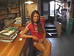 Cute amateur chick fucked in a store