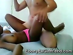 Young ebony babe gets pumped in interracial homemade