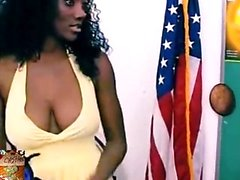 Ebony Housewife Squeezing Her Big Boobs