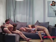 Exciting and rough group sex on the couch