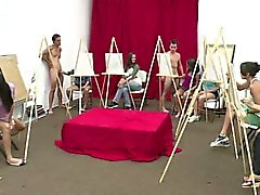 Group of CFNM girls sucking amateur cock in art class