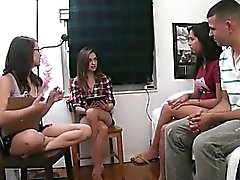 Teen girls playing with dildo penis